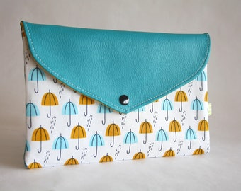 Clutch bag / pencil case organic cotton and false leather