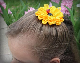 Kanzashi Sunflower Satin Flower Clip,Royal Hair Clip, Hair Accessories, Alligator clip, Royal Baby Girl Photo