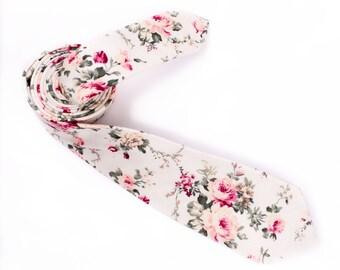 Tie of floral, beige pink