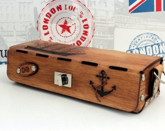 Sailing Personalized Leather Toiletry Bag Shaving  Box Cosmetics Bag Monogram Pencil-Case -   Sailor Anchor Father Boyfriend Gift Student