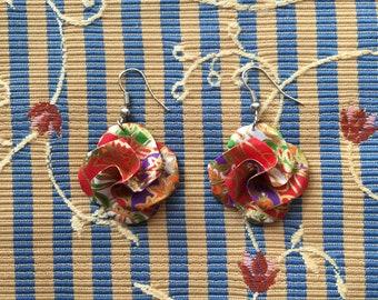 Origami Patterned Flower Earrings