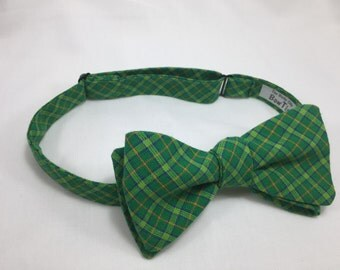 Emerald Bow Tie, Plaid Bow Tie, Green Bow Tie, Self Tie Bow Tie, Freestyle Bow Tie, 100% Cotton Bow Tie, St. Patrick's Day Bow Tie