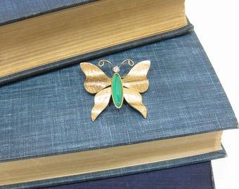 Vintage Krementz Brushed Gold Tone Butterfly Pin