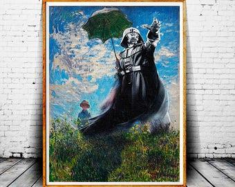Darth Vader Print, Star Wars Painting, Darth Vader Painting Print, Star Wars Print, Claude Monet, Madame Monet, Darth Vader Parody Art Print