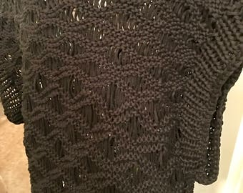 Handmade Drop-stitch Poncho Pullover