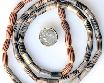 26 Inch Strand of Striped Aspeo and Chevron Beads - Vintage African Trade Beads - ASP26