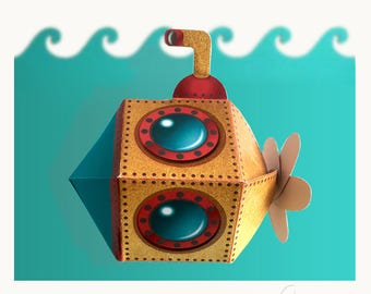 printable favor box, under the sea party favor box, gift box, submarine box, instant download box, party decor, submarine party, diy box
