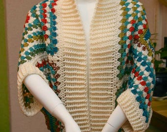 Granny square cocoon sweater Cardigan 01