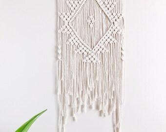 Macrame Wall Hanging Textile Fiber Art Aztec Inspired