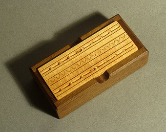 Carved Wood Jewelry Box, Channel Pattern