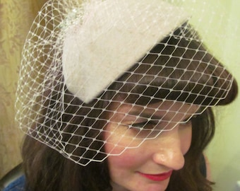 Vintage Inspired Felt Hat with Birdcage Style Veiling