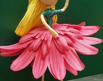 Flower fairy- blonde, dark pink skirt