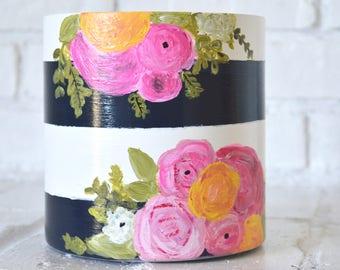 Kate spade inspired vase, flower vase, stripes