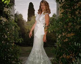 Mermaid Wedding Dress. Silk Wedding Dress. Long Lace Bridal dress. V-Neck Wedding Gown. Wedding Silk Top. Long Lace Skirt. Ready to Ship.