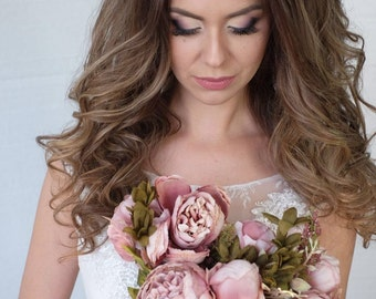Pink and ivory wedding headpiece, Pink and ivory wedding crown headpiece Bridal, Pink and ivory headband, Tiara