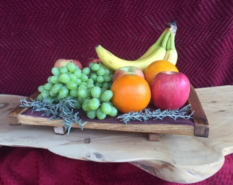Wine Barrel Tray with Handles
