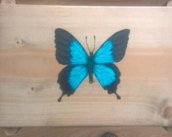 Hand made, hand painted, unique side table - Butterly