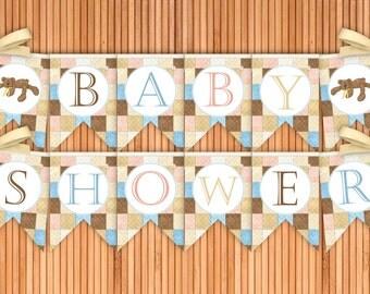 Bear Necessities - Baby Shower Printable Banner - Instant Download