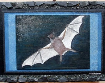 Bat stone collage on wood - 42 cm x 68 cm x 2 cm