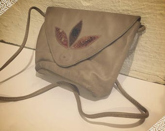 Vintage Taupe Leather Clutch Purse