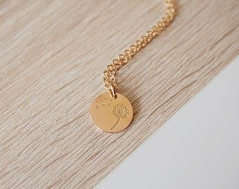 Necklace gold pink dandelion