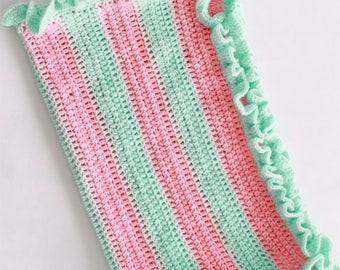 Crochet Coral and Mint Baby Blanket