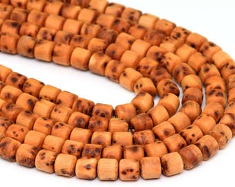 "8x8MM Aromatic Sandalwood Grade AAA Natural Wood Full Strand Tube Loose Beads 34"" (100730-307)"