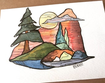 Original watercolour painting and ink - size a5