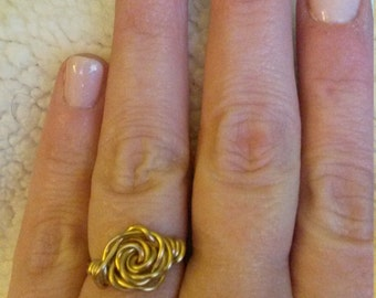 wire wrapped rose ring in gold or silver