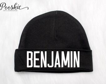 Baby Boy Newborn Hat, Black Baby Beanie, Newborn Name Hat, Baby Shower Gift, Baby Beanie, Newborn Hats, Hospital Hat for Baby, Boy Hat, P53