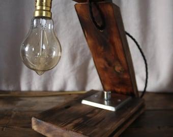 Edison Style Industrial Table Lamp Reclaimed Wood - Bespoke