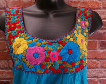 Frida Style Mexican Hand Embroidered Peasant Blouse 100% Cotton Handmade