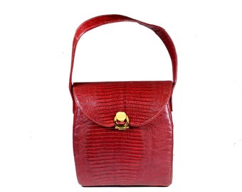 Vintage Palizzio Red Exotic Leather Flap Bag