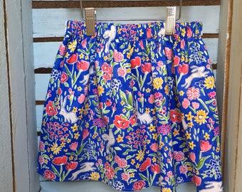 Girls Floral Blue Bird Skirt 4y