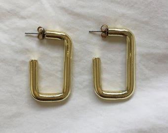 Vintage Gold Rectangle Hoops