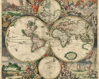World Old Map Wallpaper History Map, Antique Style Map History Collection,  Home Wall Art
