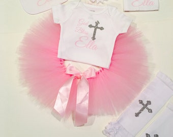 God Bless / Personalized / Baptism Outfit / After Party Outfit / Baptism body suit / Tutu / Baptism Bib