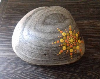 Large Beach pebble with dot mandala , hand painted pebble, painted rock from Cornwall,  mindfulness/meditation aid, Cornish gift.