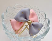 Gray or Pink Polka Dot Planner Bow Planner Clip Paper Clip Bookmark Party Favor Gift