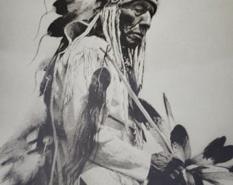Native American Indian Chief The Old Cheyenne Art Print Poster 20 x 16