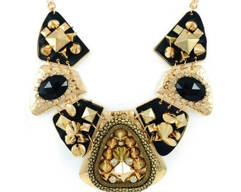 Black and Gold Studded Collar Necklace