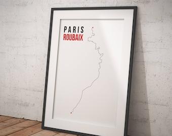 Cycling Paris Roubaix Route Digital Artwork Print