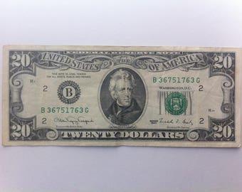 Vintage (1990) 20 Dollar Bill