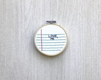Lined paper hand embroidery, Love me embroidered hoop art, paper embroidery design, love embroidery gift