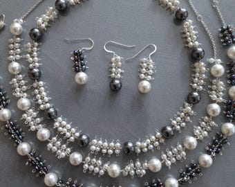 Bubble Necklace and Earrings Collection (Freshwater Pearls, Swarovski Crystal Pearls, Sterling Silver)