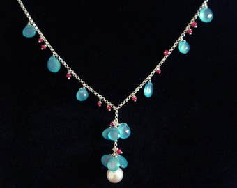 Spring Garden Necklace and Earrings Collection (Ruby, Chalcedony, Swarovski Crystal Pearls, Sterling Silver)