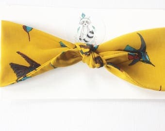 Ochre baby hair band birds baby hair bow