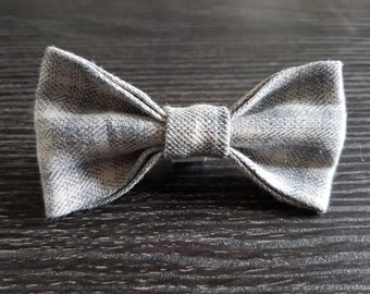 Grey Tweed dog collar bow tie