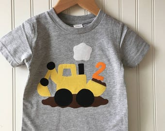 Construction 2nd birthday shirt. Completely customizable Digger birthday shirt. Work Zone party. Second, third, truck, excavator, dump truck