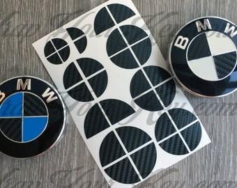 Half black carbon fiber BMW badge emblem overlay trunk rims fits all BMW